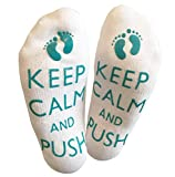 'Keep Calm And Push' Cute Funny Labor Birthing Delivery Socks For The Mummy To Be