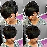 HOTKIS Human Hair Short Wigs for Black Women Short Pixie Cut Wigs Side Bangs Short Wigs for Black Women Human Hair Short Wigs (Side Bangs Cut)