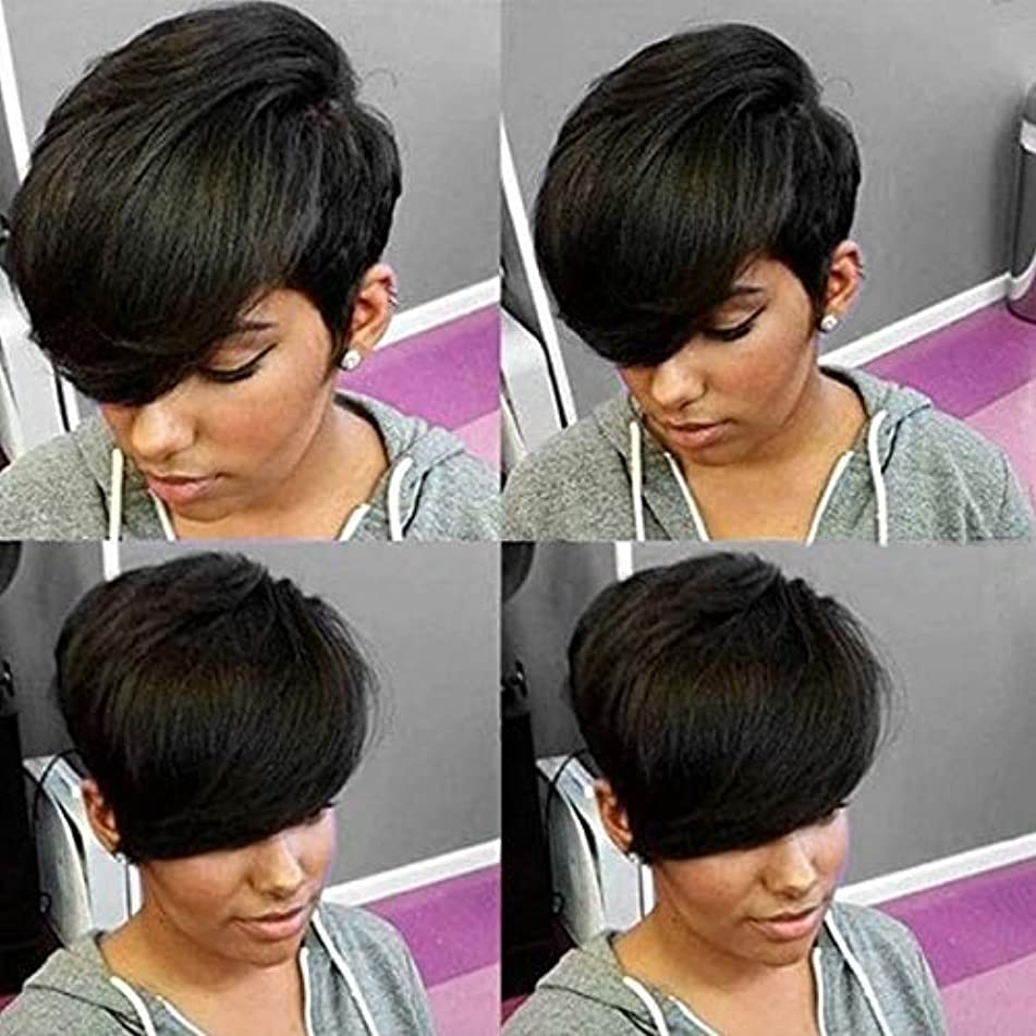 HOTKIS Short Pixie Human Hair Wigs Side Bangs Short Wig for Women Human Hair Short Wigs Glueless (Side Bangs Cut)