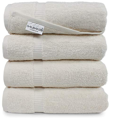 SALBAKOS Luxury Bath Towels -4-Piece Large Ivory Bathroom Hotel Towel Set, Softest 700 GSM Genuine Turkish Cotton Eco-Friendly Bath Towel Set, 27x54 Inches