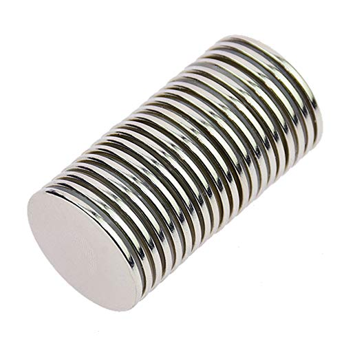 """Stritra - N52 Strong Permanent Neodymium Rare Earth NdFeB Round Thin Magnets Disc for Craft, Science and DIY 1.26"""" Diameter X 0.08"""" (Pack of 20)"""