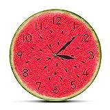 yage Reloj de Pared con Estampado acrílico Moderno de sandía It's Fruit Time con números, decoración de Arte de Pared para guardería, Reloj silencioso con Movimiento de Cuarzo