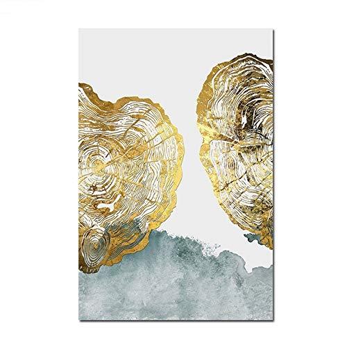 LiMengQi Nordic Abstract Golden Tree Round Wall Art Lienzo póster y Lienzo Impreso Sala de Estar Moderna decoración Minimalista del hogar (Sin Marco)