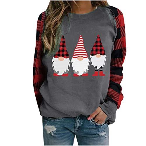 ITISME Cadeaux de noël Femmes de Noël à Manches Longues Wapiti Chemisier Sweat-Shirt Hauts Casual