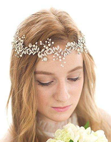 BABEYOND Braut Haarband Blumen Perlen Satin Band Vintage Braut Haarschmuck Braut Hochzeit...