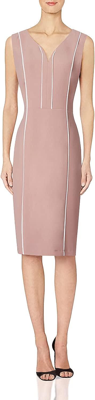 ROEYSHOUSE Women's Retro V Neck Sleeveless Business Pencil Sheath Dress Pink