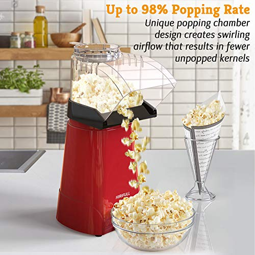 Product Image 4: HIRIFULL 1200W Hot Air Popcorn Poppers Machine, Home Electric Popcorn Maker with Measuring Cup, 3 Min Fast Popping, ETL Certified, BPA Free, No Oil, DIY Flavors, Great for Home Movie TV, Party(Red)