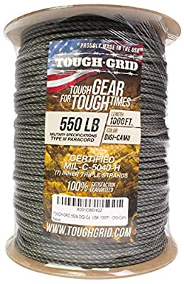 TOUGH-GRID 550lb DIGI-Camo Paracord/Parachute Cord - 100% Nylon Genuine Mil-Spec Type III Paracord Used by The US Military - (MIL-C-5040-H) - Made in The USA. 100Ft. - DIGI-Camo