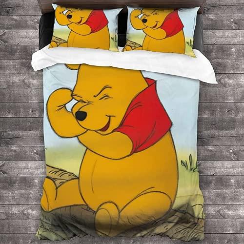 QWAS Winnie The Pooh - Juego de ropa de cama (3 piezas, 1 funda nórdica y 2 fundas de almohada, microfibra suave, antimanchas, fácil de cuidar, 200 x 200 cm + 50 x 75 cm x 2)