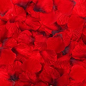 DomeStar Artificial Flower Petals 2000PCS Fake Rose Petals Fabric Petals Silk Red Rose Petals for Romantic Night Wedding Valentines…