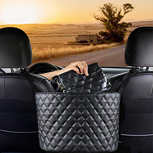 Car Seat Organizer,Car Net Pocket Handbag Holder Between Seats,Car Organizers and Storage Front Seat for Purse,Car Grocery Organizer,Car Coin Holder Change Organizer (leather)