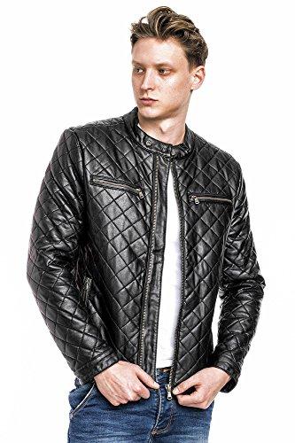 Megastyl Leder-Jacke Designer Bomber Dynamic Biker-Style Slim-Fit schwarz, Größe:M, Farbe:Schwarz M4