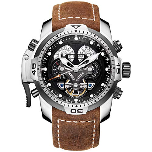 Reef Tiger Mens Sport Watches Complicated Black Dial Steel Case Automatic Watch Military Watches RGA3503 (RGA3503-YBSB)