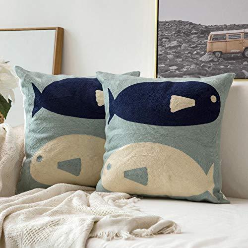 LYTFQ Cuscino del Divano Oceano Cuscino Cuscino Divano Cuscino Cuscino Ricamo Cuscino-45X45Cm Federa Abbraccio + Anima del Cuscino (Divano, Sedia) _Big Fish Orata