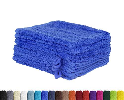 BaSaTex Lot de 10 Gants de Toilette en 100% Coton - 15 x 21 cm, Coton, Bleu Roi, 15 x 21 cm