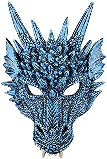 Mardi Gras Mask PU Foam Material 3D Animal Dragon mask for Halloween Party, Ballroom, Fancy Prom,Wedding, Wall Decoration-Blue