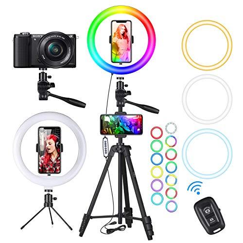 Ringlicht mit Stativ, 10.2' LED Ringleuchte Ring Light mit Stativ mit Selfie-Fernbedienung Handyhalter, 3 Farbe und 15 RGB Farbe, Dimmbar und Blitz Modus,...