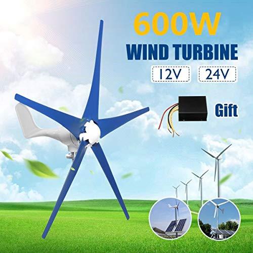 2020 600W 5 Blades Horizontal Windgenerator 12V / 24V Wind-Turbinen-Generator Mit Steuerpult Energieanlagen Lade Camping Permanent Windturbine Genera (Color : 12V)
