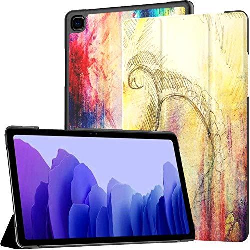 QIYI Hülle Kompatibel mit Samsung Galaxy Tab A7 10.4 2020, PU Leder Schlank Hülle Schutzhülle mit Standfunktion, Samsung Tablet A7 Case T500 / T505 / T507 Bleistiftzeichnung Drache
