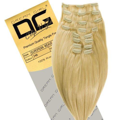 Dream Girl Extensions cheveux raides à clipser Couleur numéro 24B 46 cm