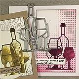 jiashemeng Bouteille De Vin en Verre Métal Matrices Bricolage Scrapbooking Gaufrage Papier Carte Album Artisanat, Joyeux Anniversaire Découpe Cartes
