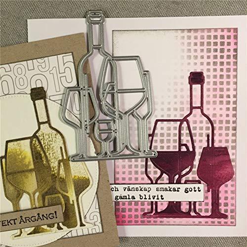 Gemini_mall Stanzformen für Karten, Weinflasche, Glas, Metall, zum Basteln, für Scrapbooking, Papier, Karten, Fotoalbum, Dekoration, Basteln, Prägung, Schablone, Geschenke silber