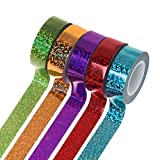 Bhty235, Cinta adhesiva decorativa de varios patrones Washi para decoración de gimnasia rítmica con purpurina holográfica, accesorio para anillos