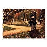 Lefgnmyi James Tissot 《La letra》 Arte de la lona Pintura al óleo Obra de arte Impresión del cartel Imagen Decoración de la pared Decoración de la sala de estar del hogar-24x32 IN Sin marco