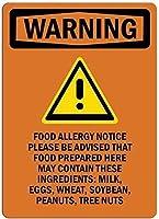 目新しさブリキ看板食物アレルギーお知らせ壁に貼ってくださいおもしろい鉄絵ヴィンテージメタルプラーク装飾警告サイン吊るすアートワークポスターバーパーク