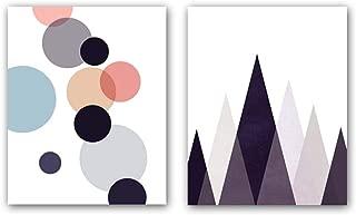 Watercolor Mid Century Wall Art Print Set of 2(10''x8'') Abstract Modern Art Geometric CircleMountain Print Canvas Poster Modern Home Decor,No Frame