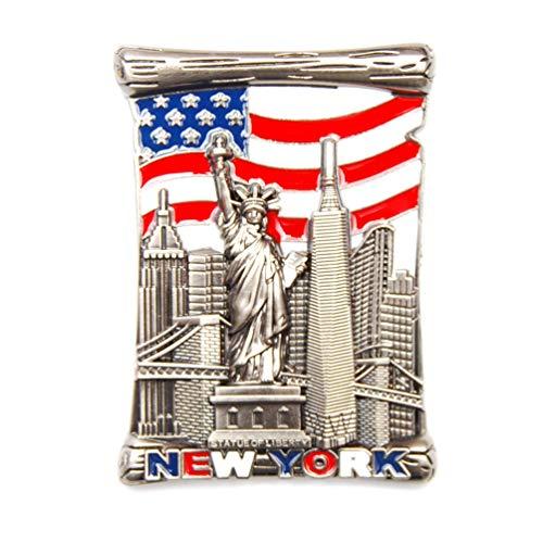 U.S Flag New York Souvenir Fridge NY Magnet - US Flag,Statue of Liberty,Empire State Building,Brooklyn Bridge,NYC Magnet Metal (Pack 1)