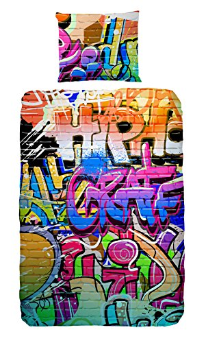 GOOD MORNING Coordinato Copripiumino Graffiti Multicolore Singolo (135 x 200 cm + 80 x 80 cm)