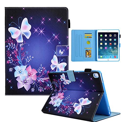 Case for iPad 9.7 inch(2018/17 Model),iPad Air 1/Air 2 Case,iPad Pro 9.7 inch Leather Cartoon Case with Multi-Angle Viewing,Cards Slot,Pen Holder,Auto Sleep/Wake Case for All iPad 9.7' (Butterfly)