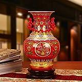 Q-HL Jarrones Jarrón Flores Binaural Chino Jarrón Rojo, jarrones de cerámica de Jingdezhen de Flores decoración for el hogar for la Sala 26 * 16cm