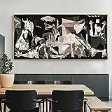 Famosas reproducciones de pinturas en lienzo Impresión en lienzo Impresiones artísticas Obra de arte Guernica de Picasso Cuadros de pared para decoración de habitaciones 55x110cm (22x43in) Con marco