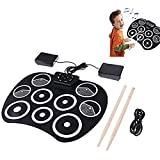 HJJ 9 Pads Electronic Drum Set, Portable Roll Up Drums Practice Pad with Pedals Sticks USB Cable Powered, for Students Children Beginners