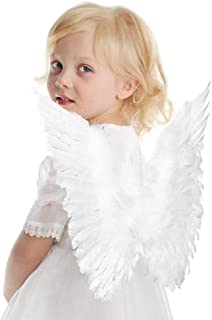 Interlink-UK Halloween Angel Costume for Girls Beautiful Feather Angel Wings Cosplay Costume for Adult Kids (Kid, 5 Pack-White)