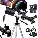 BEBANG Telescopio para niños adultos - 3 oculares rotatorios 70mm apertura Telescopios refractores 400 mm para principiantes astronomía, telescopios portátiles de viaje con trípode ajustable