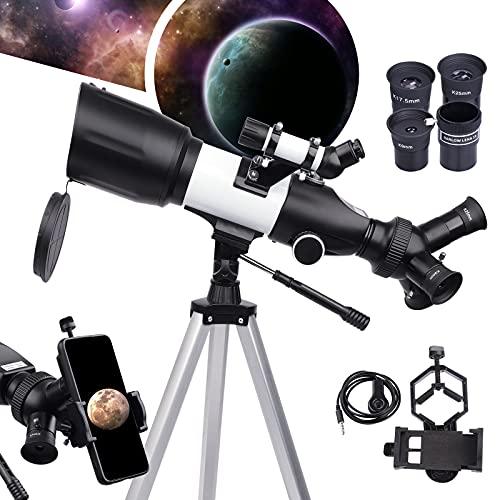 BEBANG Telescopio per Bambini Adulti - 3 Oculari Girevoli Apertura 70mm 400mm Telescopi Rifrattori per Principianti Astronomia, Telescopi da Viaggio...