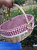 Jjzhb Yunli-Canasta de Pan Mimbre, Cesta de Picnic, cestas Hechas a Mano de Almacenamiento, la Cesta de Frutas for la jardinería Carrito de la Compra Apto para Mesa de Cocina