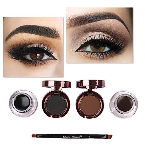 Hilai étanche Eye Liner Gel et Poudre Eyebrow Eyebrow Ombre 4 en 1 Crayon Eyeliner Eyebrow Ombre Maquillage Brosse Kit Mini Eyeliner Gel crème avec la brosse de maquillage (brun + noir)