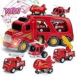 SAITI Fire Truck Car Toys Set with Sound &...