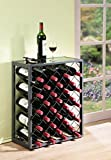 Mango Steam 32 Bottle Wine Rack with Glass Table Top, Pewter