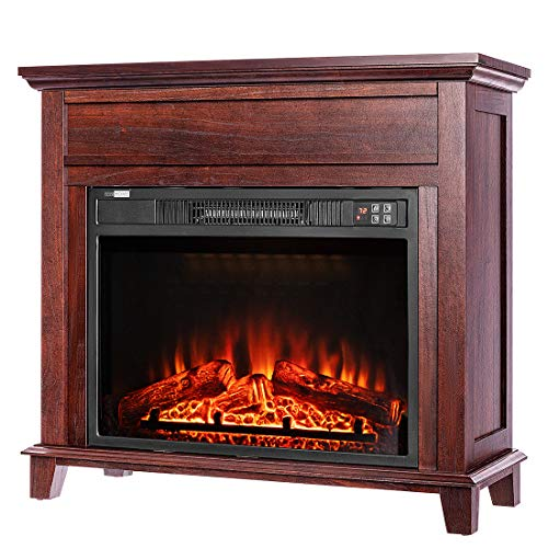 VIVOHOME 32 Inch Wide Electric Fireplace with Wood Frame, Insert Freestanding Portable Heater Stove with Remote Control, Brown