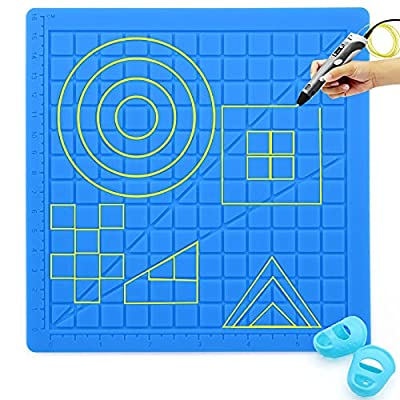 POPMISOLER 3D Printing Pens Mat,3D Printing Pen Silicone Design Mat, 3D Printing Pen Silicone Pad with 2pcs Finger Protection Sleeve,Silicone Pad 3D Printing Pen for Beginners and Children