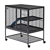 MidWest Homes for Pets Deluxe Critter Nation Single Unit Small Animal Cage (Model 161) Includes 1 Leak-Proof Pans, 1 Shelf, 1 Ramps w/ Ramp Cover & 4 locking Wheel Casters, Measures 36'L x 25'W x 38.5'H Inches, Ideal for Dagus, Rats, Ferrets, Sugar Gliders, Gray Quartz