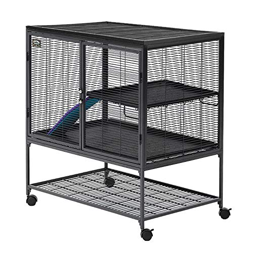 "MidWest Deluxe Critter Nation Single Unit Small Animal Cage (Model 161) Includes 1 Leak-Proof Pans, 1 Shelf, 1 Ramps w/ Ramp Cover & 4 locking Wheel Casters, Measures 36""L x 25""W x 38.5""H Inches, Ideal for Dagus, Rats, Ferrets, Sugar Gliders"