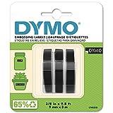 DYMO Prägeband Etiketten Authentisch | 3D weiß auf schwarz | 9 mm x 3 m | selbstklebendes Kunststoffetikettenband | für Junior & Omega Beschriftungsgerät | 3 Stück