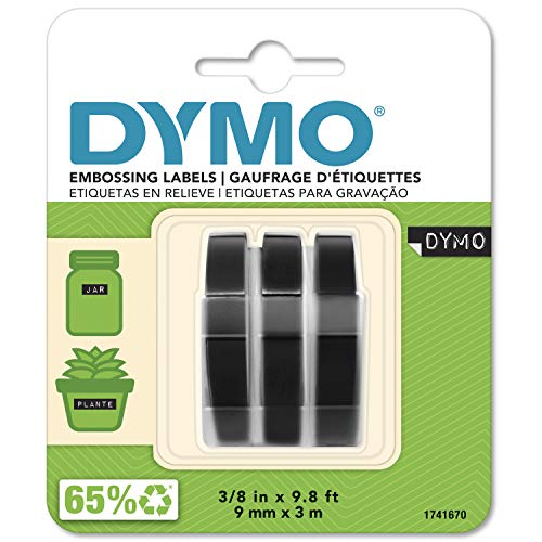 DYMO S0847730 Etichette Autoadesive a Rilievo in Vinile, Rotoli da 9 mm x 3 m, Stampa Bianco su Nero, Confezione da 3