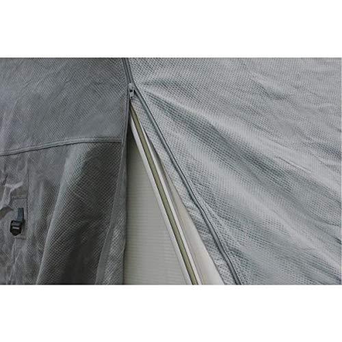 Universal Wohnwagen-Abdeckplane für Wohnwagendächer | Größe L 580 x B 225 x H 220cm | wasserabweisende graue Plane mit elastischer Schnur am Saum für Schutz vor allerlei Umwelteinflüssen